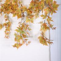 feuillage de soie artificielle achat en gros de-Feuilles de soie artificielle Multicolore Automne Automne Windowill Feuilles D'automne Guirlande Feuille d'érable Vigne Faux Feuillage maison jardin Décoration Guirlandes