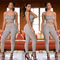 Wholesale cotton tights for women - Fashion Women Tracksuits Sexy Strap Tank Tops With Knitted Tight Pants For Night CLub Curve Wear