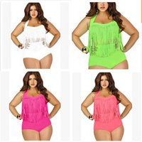 Wholesale swimwear plus size women two piece for sale - Woman Swimsuit Swimwear Lady Bikini Femme Two Piece Suits High Waist Plus Size Obesity Tassels With Chest Pad Adult sc V