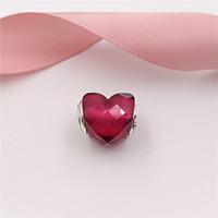 pulsera fucsia al por mayor-Auténticas cuentas de plata esterlina 925 forma fucsia de encantos de amor se adapta a joyas de estilo pandora europeo collar 796563NFR