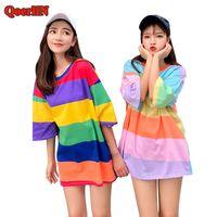melhor camisa da menina da forma venda por atacado-QoerliN Melhor Amigo Casual Rainbow Listrado T Shirt Meninas Harajuku 2018 Moda Feminina de Verão de Manga Curta Camisas Longas Mulher Tops