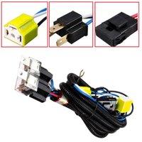 kit de câblage de relais achat en gros de-H4 Relay Harnais Fil Halogène 2 Phare Céramique Contrôleur Socket Plugs Kit Pour Phare Auto De Voiture