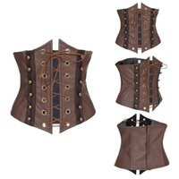 Wholesale Xxl Sexy Corsets - Moonight Brown Synthetic Leather Lace Up Sexy Corset Hollow Out Underbust Corset Top Corsets And Bustiers S-XXL