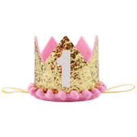 sombrero diadema para niñas al por mayor-Glitter 1st Birthday Party Hat Príncipe Princesa Crown Número 1 Party Sombreros Baby Girls Boys Cumpleaños Diadema Tocado Favor