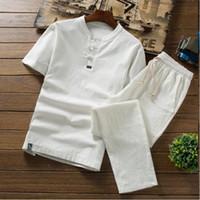 pantalones de yoga slim al por mayor-Conjuntos de lino fino de verano de alta calidad Algodón para hombre Camiseta de manga corta delgada Color sólido Pantalones casuales de gran tamaño Hombres