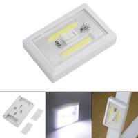 lámpara de emergencia led 5v al por mayor-Interruptor magnético Mini COB LED sin cuerda de la lámpara noche de la pared luces con pilas del gabinete de cocina Garaje Armario Campo de luz de emergencia