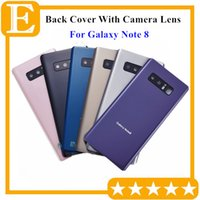 Wholesale door lens camera - Battery Door Back Glass Cover Housing with Camera Lens + Adhesive Sticker installed For Samsung Galaxy Note 8 N950 N950V N950A Bottom 100PCS