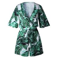 ingrosso verde per le donne-Deep V Neck Summer Body Donna Green Leaves Print Beach Playsuit Donna Tuta corta Tuta Casual Pagliaccetto Body