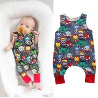 Wholesale girls heart shape outfit - Cotton Cartoon Superhero Newborn Sleeveless Romper Baby Girl Boy Clothes Bodysuit Jumpsuit Playsuit Cute Heart-shaped Printing Outfits B11