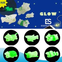 Wholesale glow dark animals online - Cable Bite styles Glow in the Dark animal bite cable for iPhone Protector Accessory cable bites hedgehog Tiger panada Charger Cord