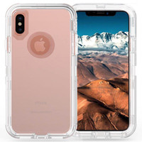 Wholesale heavy duty defender - Defender Case For Iphone X 3in1 Hybrid Clear Heavy Duty Shockproof Back Cover without Clip Phone Case for Iphone X 8 8plus