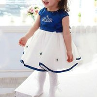 Wholesale girls pageant crowning dresses - 2017 Baby Kids Children Crown Pageant Short Sleeve Baby Girls Dress Party Wedding Princess Favor's Tulle Gown Dress Y