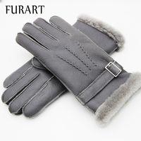 овчарки оптовых-FURART Warm Winter 2017 Mittens Gloves Mittens womenswear  Manual Genuine Leather Gloves Winter Sheep Skin Leather
