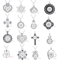Wholesale Crystal Cross Chain - 7 Styles Noosa Assorted Ginger 18mm Snap Buttons Chunk Charms Crystal Heart Multi Pendant Necklaces 316L Stainless Steel Chain Jewelry