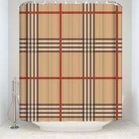 cortinas clásicas al por mayor-Nueva llegada impermeable patrón clásico cortina de ducha a cuadros con ganchos cortinas de baño de tela de poliéster para decoraciones del hogar