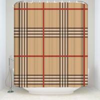 banyo perdesi kancaları toptan satış-Yeni Varış Su Geçirmez Klasik Desen Ekose Duş Perdesi Hooks Polyester Kumaş Banyo Ev Dekorasyon için Perdeler