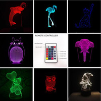 Wholesale lead elephant toy - 2018 Hot 3D Lion Flamingos Bear Dolphin Cat Fish Elephant 7 Color Gradient Remote Control Lamp Visual Led Night Lights Kids Table Baby Toys