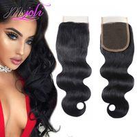 doğal insan saç kapatmaları toptan satış-Brezilyalı Bakire Insan Saçı Örgü Kapaklar Vücut Dalga Gevşek Dalga Derin Dalga Düz Sapıkça Düz Doğal Siyah 4x4 Dantel Kapaklar MS Joli