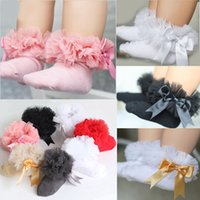 Discount toddler ankle socks - 2018 Infant Toddler Baby Girls Kids Princess Bowknot Lace Floral Short Socks Cotton Ruffle Frilly Trim Ankle Socks 2-6Y