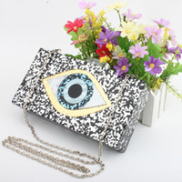 Wholesale blue shiny bags - Women Clutch Evening Bag Eyes Print Shiny Acrylic Gold For Wedding Party Fashion Handbags Chain Shoulder Bag Messenger Bags Top