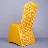 esticar a tampa da cadeira universal venda por atacado-3D Rose Flower Universal Esticar Spandex Cadeira Covers para Casamentos Festa Banquete Acessórios de Decoração Elegante Capas de Cadeira de Casamento