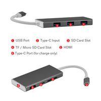 usb otg hdmi al por mayor-USB Tipo-C a 3 Puertos Adaptador USB 3.0 HUB Soporte HDMI TF Lector de Tarjetas SD Función OTG para MacBook Laptop Smartphone Universal