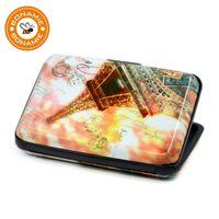 Wholesale Rfid Printed Cards - BONAMIE Cute Eiffel Tower Prints Aluminum Wallet RFID Blocking Business ID Card Holders Fashion Bank Card Case Box Women Girl