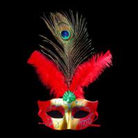 máscaras de pavo real plumas al por mayor-Mujeres Niñas Pintura colorida Peacock Feather Mask Festive Performance Show Ball Máscaras Disfraces Party Supplies