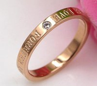 Hot new forever love letter diamond ring anello in oro rosa femminile con tre diamanti in titanio