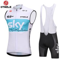 Wholesale Cycling Vest Men - Sky 2018 Pro Team Cycling Set Men Sleeveless Cycling Vest Set Cycling Clothing Mountain MTB Bike Jersey Set Bicycle Clothing Ropa Ciclismo