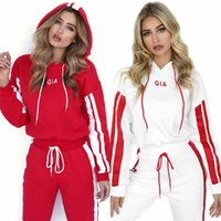 Wholesale women wearing jumpsuits online - 2pcs set Women Tracksuit Short Hoodies Sweatshirt Pants Sets pattern Sport Wear Casual Sweat Suit Long Sleeve jumpsuit GGA150 sets