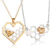 Wholesale prom gifts for girls resale online - Charm Fashion Silver Necklaces for Women Girl Heart Honeycomb Bee Animal Pendant Choker Necklace Jewelry Party Prom Gift