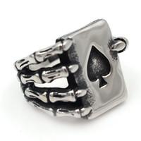 кольца для покера в покер оптовых-Biker Mens Punk New Fashion Silver Rings Party Jewelry, Лучшие продажи Нержавеющая сталь Spade Poker Claw Cool Серебряное кольцо KKA1952