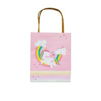 Wholesale paper bags for sweets - Sweet Pink Cartoon Unicorn Paper Bags Gift Bag with Handles For Birthday Wedding Party Supplies Gift Bag ZA6935