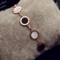 titan charme armbänder großhandel-Mode marke acryl runde charme armband rose gold überzogene titanium stahl armband armreif für frauen hochzeit schmuck freundinnen geschenk