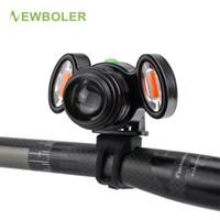 usb del manillar al por mayor-Linterna delantera para bicicleta NEWBOLER 1 XM-T6 + 2 COB Luz LED de ciclismo Recargable incorporada Baery + Soporte de manillar + línea USB