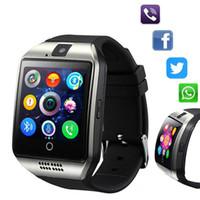 mobiltelefon bluetooth anrufbeantwortung großhandel-Q18 Smart Watch Bluetooth Smart Uhren für Android Handys Unterstützung SIM-Karte Kamera Anruf mit Kleinkasten
