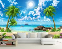 Wholesale Beach House Wall - wallpaper scenery for walls Custom 3d background wallpapers Sea view coconut beach scenery 3d wall murals wallpaper for bathroom