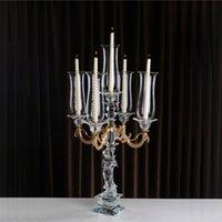 ingrosso candele di lusso-Candeliere di lusso di cristallo dorato delle candele del candelabro per nozze Decortion, candelabri di cristallo di nozze sulla vendita