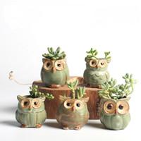 ingrosso vasi a vetri da giardino-Giardino carino fioriere gufo vasi in ceramica fiore smalto base pianta grassa vaso bonsai pianta mini contenitore qqa450