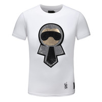 Wholesale T Shirt Rhinestone Designs - Luxuy Design Rhinestone Little monster Lafayette T-shirt Classic Funny Cartoon Men pullover Short sleeve Top tees Mens brand T shirts ZRF03