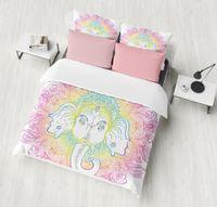 ingrosso letto di elefante della regina-Biancheria da letto Outlet Bohemian Elephant Bedding Set Single Queen Size Copripiumino Lotus Flower Bed Set Copripiumino In Microfibra 3 pz