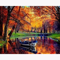 Wholesale fantasy embroidery - 5D DIY Diamond Painting Fantasy River sunset scenery Diy Diamond Embroidery European Style For The Living Room Mosaic Painting