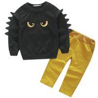Wholesale dinosaur baby t shirt resale online - Baby Dinosaur Sweater Pants Long T shirt Boys Clothing Sets Kids Abbigliamento Bambini maglietta del manicotto lungo pantaloni Dinosauri