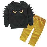 erkek dinozor seti toptan satış-Bebek Dinozor Triko Pantolon Uzun T-shirt Boys Giyim Setleri Çocuklar Abbigliamento Bambini maglietta del manicotto lungo pantaloni Dinosauri