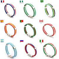 Wholesale south american countries for sale - Group buy World Cup National Flags Charm Bracelet Bangles Handmade Bracelet Country Flag Fans Leather Rope Beaded Wristband A9405