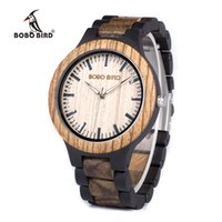 Wholesale Gold Weide - BOBO BIRD WN28 Mens Wood Watch Zabra Wooden Quartz Watches for Men Japan miyota 2035 Watch in Gift Box with tool for adjust size