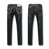 damen jeans-jeans großhandel-TRUE Frauen schwarze dünne Jeans Zerrissene Design Religion Marke Denim-Hosen Frau Fit Street Lange Bleistift-Hosen Damen-Bekleidung Jeans