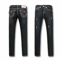 ingrosso pantaloni scarni della matita-TRUE nera delle donne Skinny jeans strappati design Religione marchio denim Pantaloni donna adatta Streetwear lungo dei pantaloni della matita donna Abbigliamento Jeans