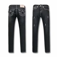 ropa de mujer jean s al por mayor-VERDADERO Para mujer Negro Jeans ajustados Diseño rasgado Religión Marca Pantalones de mezclilla Mujer Fit Streetwear Pantalones largos de lápiz Ropa de mujer Jeans